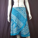Blue 2-layer Printed Knee length Beach Resort Cotton Wrapround skirt / Halter Top