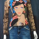 *Karen* VINTAGE ART PRINT FUNKY LONG SLEEVE TOP szM/sz2