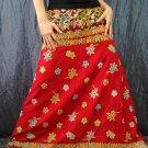Red Batik Floral Print Handsewn Beaded Sequins Long Skirt