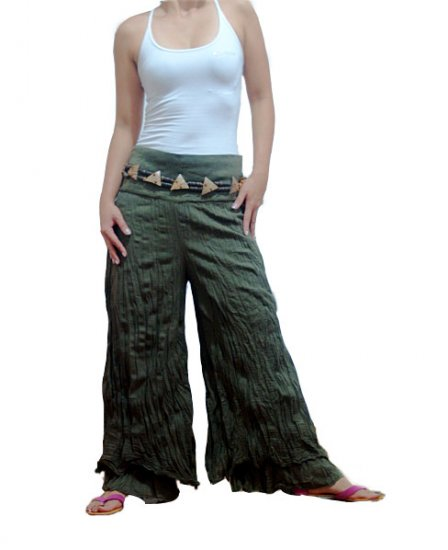 GREEN DOUBLE FOLDOVER COTTON BELLYDANCE LONG PANTS