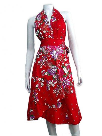 RED RUFFLES V-NECK FLORAL HALTER WEDDING WRAP DRESS