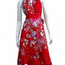 RED RUFFLES V-NECK FLORAL HALTER WEDDING WRAP DRESS