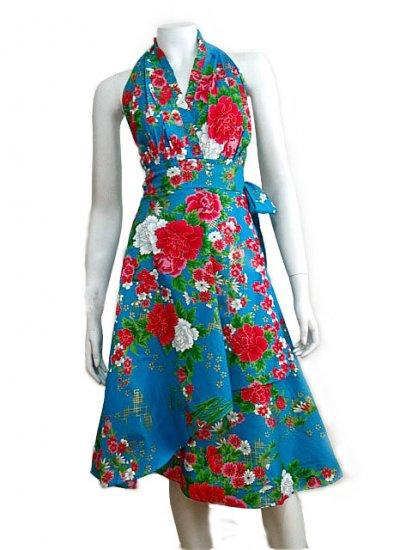 BLUE RUFFLES V-NECK FLORAL HALTER WEDDING WRAP DRESS