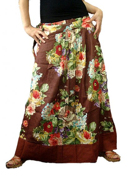 Brown Cotton Floral Long Skirt