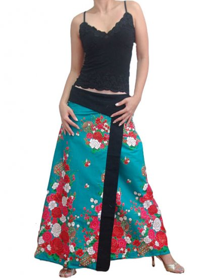 Turquoise Green Japanese floral Cotton Wraparound Long Skirt
