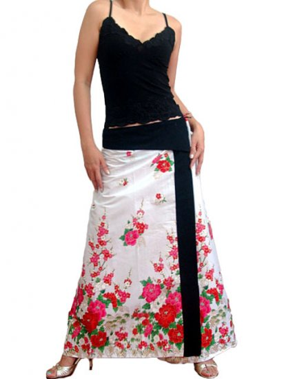 Pure White Japanese floral Cotton Wraparound Long Skirt