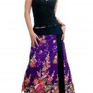 Romantic Purple Japanese floral Cotton Wraparound Long Skirt