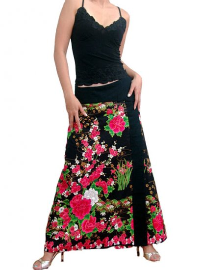 Mystic Black Japanese floral Cotton Wraparound Long Skirt