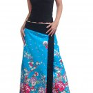Plus Size! Sea Blue Japanese Floral Wraparound Cotton Long Skirt