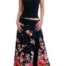 Plus Size! Gothic Black Japanese Floral Wraparound Cotton Long Skirt