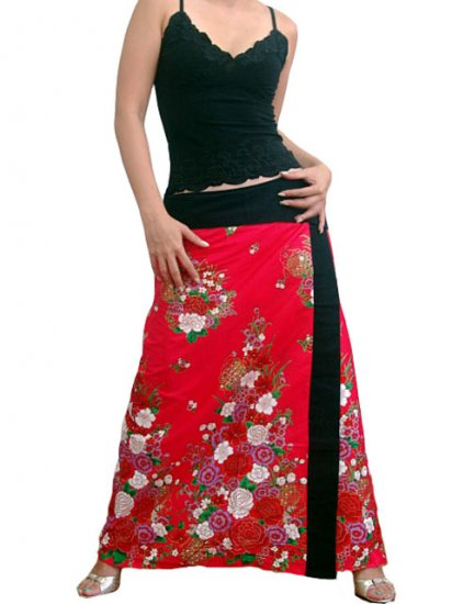 Plus Size! Hot Pink Japanese Floral Wraparound Cotton Long Skirt