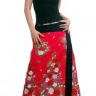 Plus Size! Hot Pink Japanese Floral Wraparound Cotton Long Skirt