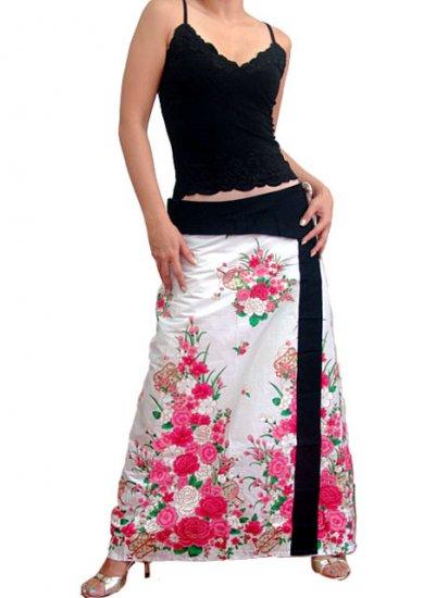 Plus Size! Pure White Japanese Floral Wraparound Cotton Long Skirt