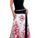 Plus Size! Pure White Japanese Floral Wraparound Cotton Long Skirt