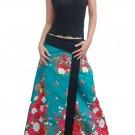 Plus Size! Green Japanese Floral Wraparound Cotton Long Skirt