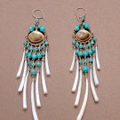 Exquisite Handmade Chandelier Tribal Turqiouse & Shells Silver Hoop Earrings