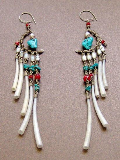 Exquisite Handmade Chandelier Tribal Beads & Shells Silver Hoop Earrings