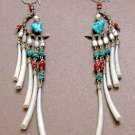 Exquisite Handmade Chandelier Tribal Beads & Shells Silver Hoop Earrings