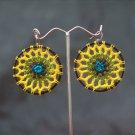 Black/Yellow Round Handmade Crochet Hoop Gypsy Boho Hippie Earrings