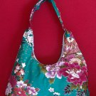 TURQUOISE GREEN SMALL BOHO SAKURA FLORAL SHOULDER HANDBAG PURSE
