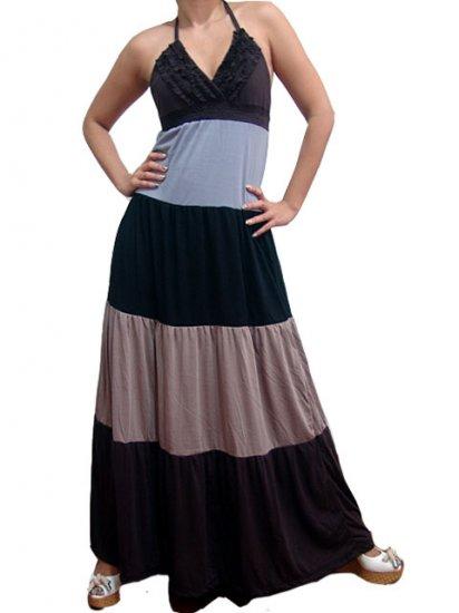 Celebrity Style Ruffles V-neck Colour Block Halter Low Back Maxi Dress