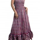 In Style Red Smocked Checks Prints Halter/Tube Maxi Dress