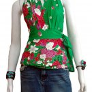 Green Cotton Floral V-neck Ruffles Wrap Halter Top / Blouse