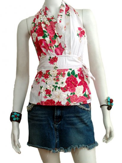 White Cotton Floral V-neck Ruffles Wrap Halter Top / Blouse