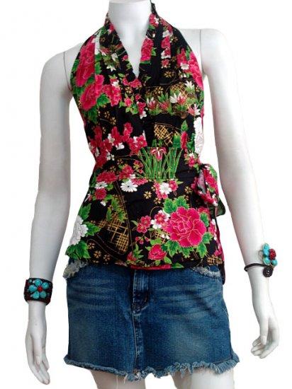 Black Cotton Floral V-neck Ruffles Wrap Halter Top / Blouse