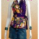 Purple Cotton Floral V-neck Ruffles Wrap Halter Top / Blouse