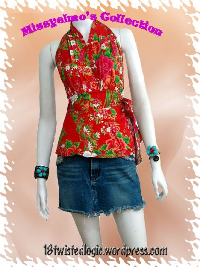 Red Cotton Floral V-neck Ruffles Wrap Halter Top / Blouse