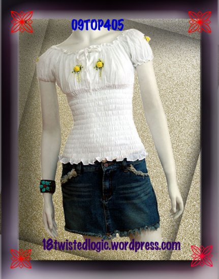 WHITE SMOCKED YELLOW FLORAL OFF SHOULDER TOP BLOUSE