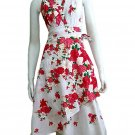 WHITE RUFFLES V-NECK FLORAL HALTER WEDDING WRAP DRESS SZ M to XL
