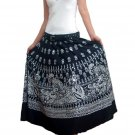 BLACK GYPSY BOHO WHITE PRINTS LONG SKIRT/DRESS