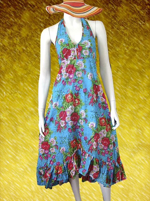 Blue V-neck Garden Floral Halter Dress