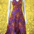 Purple V-neck Garden Floral Halter Cotton Dress