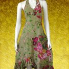 Green Cotton Country Garden Floral Halter dress