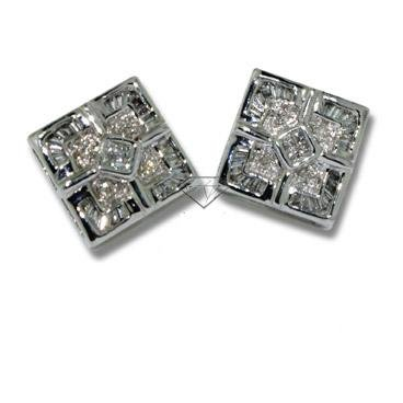Diamond Earrings - Invisible Setting Square Diamond Earrings