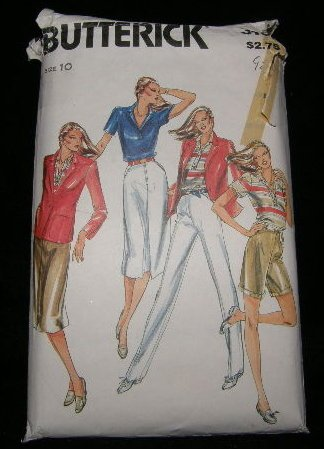 Vintage 1970's Butterick Sewing Pattern 3161 Size 10 Jacket Blouse Shirt Pants Shorts Skirt UNCUT