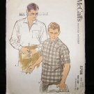Vintage 1960's McCalls Mens Sewing Pattern 5758 Shirt Long or Short Sleeve Size Large CUT