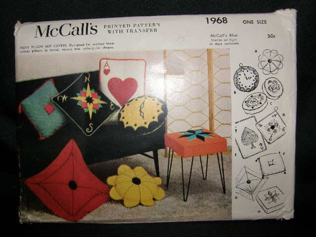 Vintage 1950's McCalls Craft Sewing Pattern 1968 Pillow Pillows Slip Covers with Transfers UNCUT