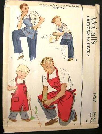 Vintage 1950's McCalls Sewing Pattern 1727 Mens & Small Boys Gardner Cobbler Work Bib Apron CUT