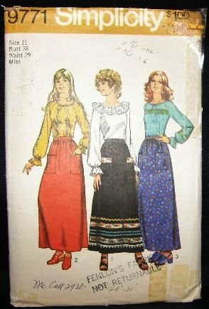 Vintage 1970's Bo Ho Hippie Simplicity Sewing Pattern 9771 Skirt Blouse Size 16 CUT
