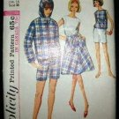 Vintage 1960's Simplicity Sewing Pattern 5836 Womans Jacket Flare Skirt Blouse Shorts Size 16 CUT