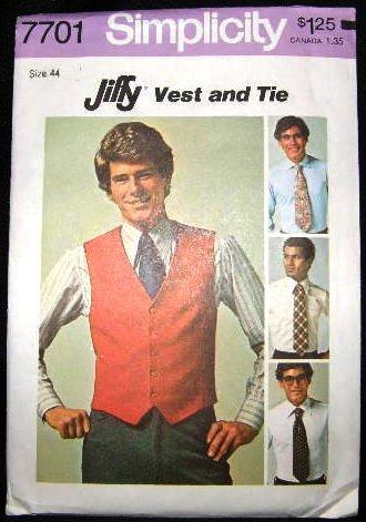 Vintage 1970's Simplicity Mens Jiffy Sewing Pattern 7701 Vest Neck Tie Ties Size 44 UNCUT