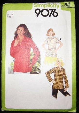 Vintage 1970's Simplicity Sewing Pattern 9076 Blouse with Belt Size 16 UNCUT