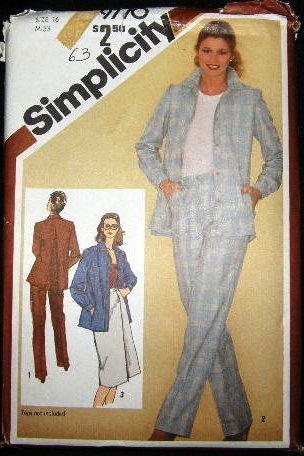 Vintage 1980's Simplicity Sewing Pattern 9770 Suit Jacket Pants Skirt Size 16 UNCUT