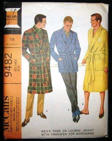 Vintage 60's McCalls Mens Sewing Pattern 9482 Monogram Tie Robe Lounge Jacket Large 42 - 44 UNCUT