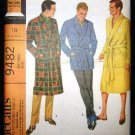 Vintage 60's McCalls Mens Sewing Pattern 9482 Monogram Tie Robe Lounge Jacket Large 42 - 44 UNCUT