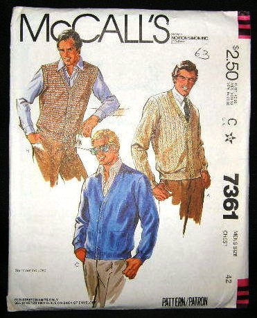 Vintage 1980's McCalls Mens Stretch Knit Sewing Pattern 7361 Sweater Vest Size  42 UNCUT